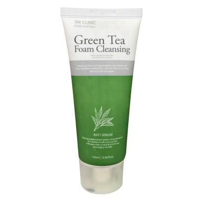 Sữa rửa mặt chống lão hóa Green Tea Foam Cleansing 3W Clinic 100ml