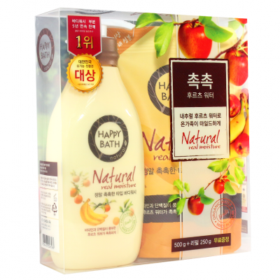Sữa tắm Happy Bath Natural Real Moisture hoa quả Hàn Quốc