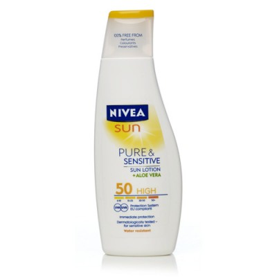 Kem chống nắng Nivea Sun Pure & Sensitive Sun Lotion with Aloe Vera High SPF50+ 200ml Đức