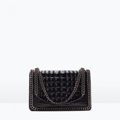 Túi xách cao cấp Zara Croc and chain city bag màu đen - Anh