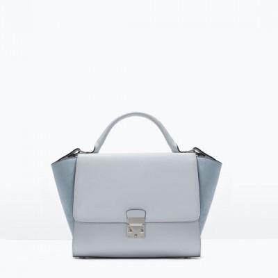 Túi xách cao cấp Zara Combined city bag with buckle màu xanh dương - Anh