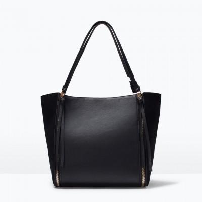 Túi xách Zipped shopper bag màu đen - Anh